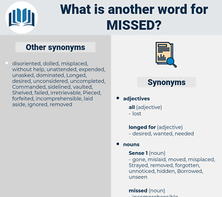 missed, synonym missed, another word for missed, words like missed, thesaurus missed