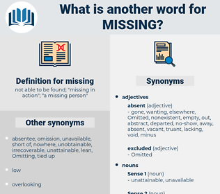 missing, synonym missing, another word for missing, words like missing, thesaurus missing