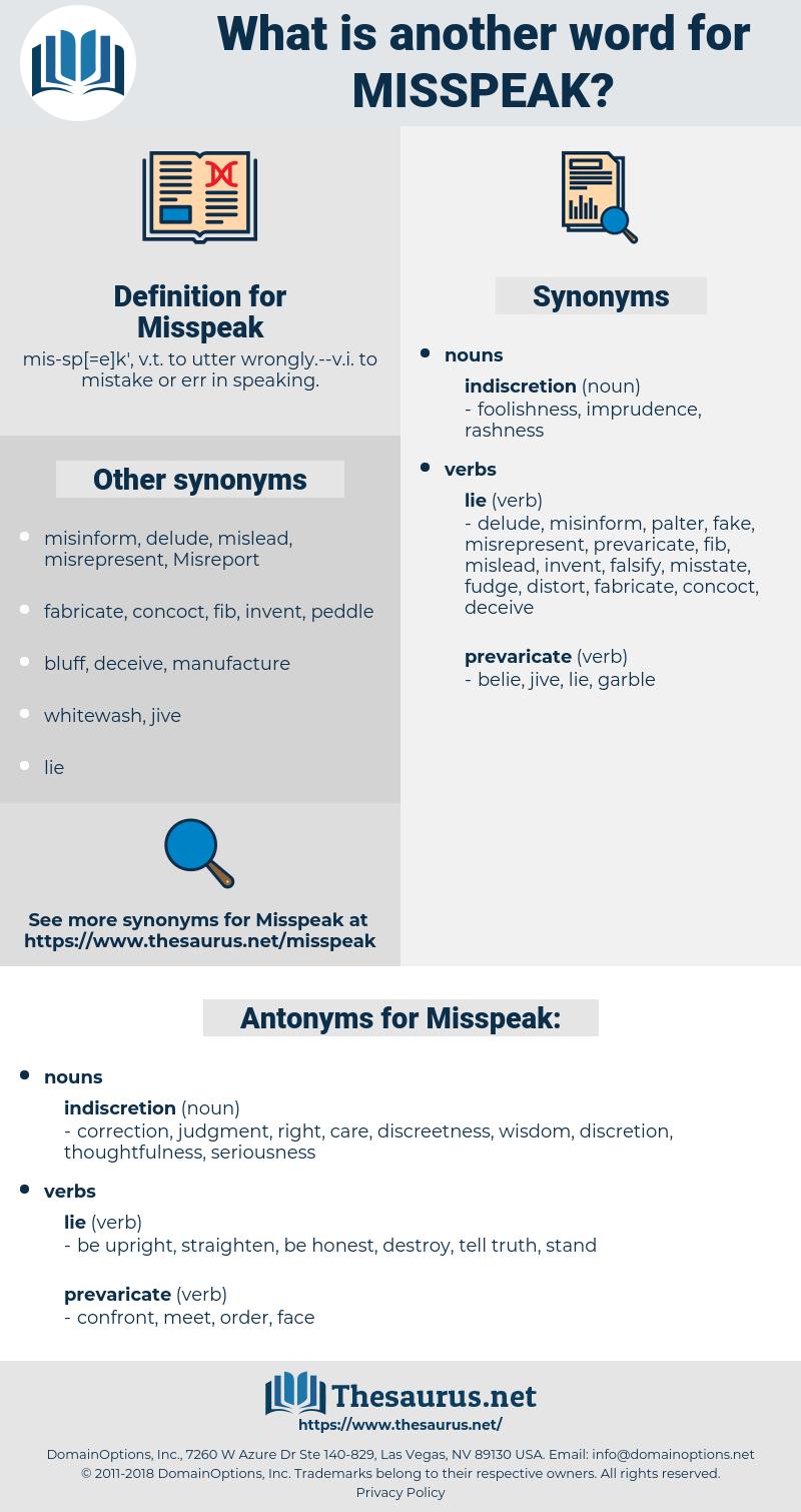 Misspeak, synonym Misspeak, another word for Misspeak, words like Misspeak, thesaurus Misspeak