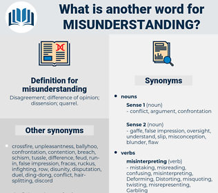 misunderstanding, synonym misunderstanding, another word for misunderstanding, words like misunderstanding, thesaurus misunderstanding