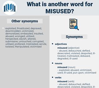 misused, synonym misused, another word for misused, words like misused, thesaurus misused