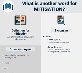 mitigation, synonym mitigation, another word for mitigation, words like mitigation, thesaurus mitigation