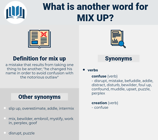 mix-up, synonym mix-up, another word for mix-up, words like mix-up, thesaurus mix-up
