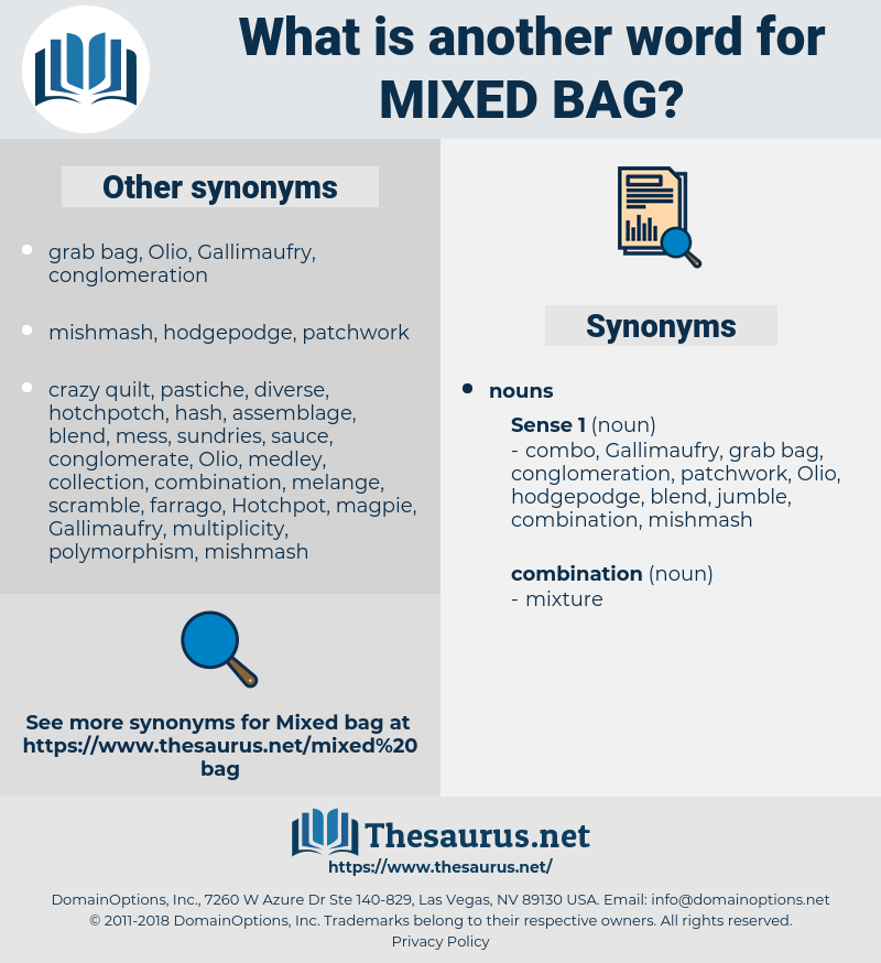 mixed bag, synonym mixed bag, another word for mixed bag, words like mixed bag, thesaurus mixed bag