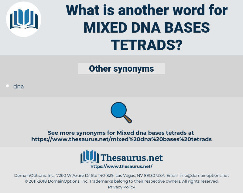 mixed dna bases tetrads, synonym mixed dna bases tetrads, another word for mixed dna bases tetrads, words like mixed dna bases tetrads, thesaurus mixed dna bases tetrads