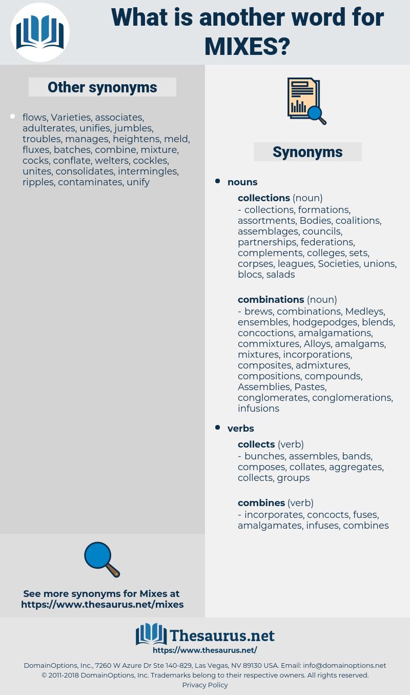 mixes, synonym mixes, another word for mixes, words like mixes, thesaurus mixes