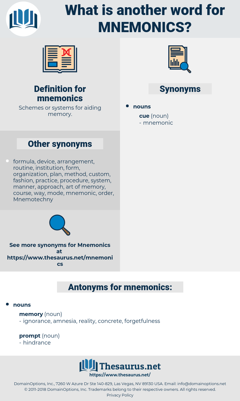 mnemonics, synonym mnemonics, another word for mnemonics, words like mnemonics, thesaurus mnemonics