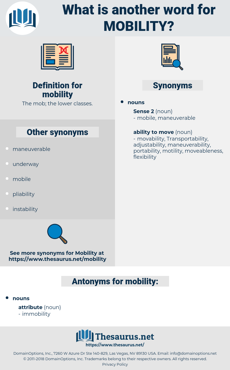 mobility, synonym mobility, another word for mobility, words like mobility, thesaurus mobility