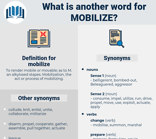 mobilize, synonym mobilize, another word for mobilize, words like mobilize, thesaurus mobilize