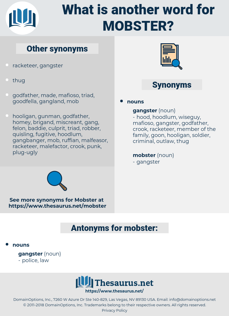 mobster, synonym mobster, another word for mobster, words like mobster, thesaurus mobster