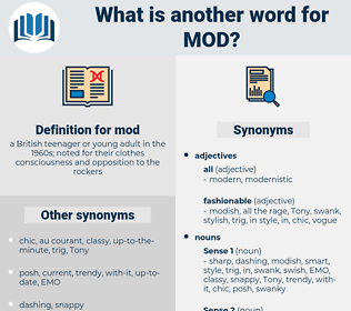 mod, synonym mod, another word for mod, words like mod, thesaurus mod