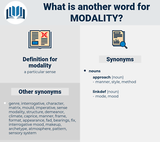 modality, synonym modality, another word for modality, words like modality, thesaurus modality