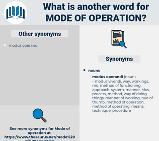 mode of operation, synonym mode of operation, another word for mode of operation, words like mode of operation, thesaurus mode of operation