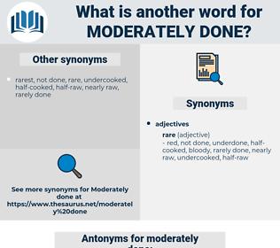 moderately done, synonym moderately done, another word for moderately done, words like moderately done, thesaurus moderately done