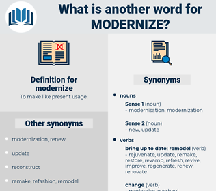 modernize, synonym modernize, another word for modernize, words like modernize, thesaurus modernize