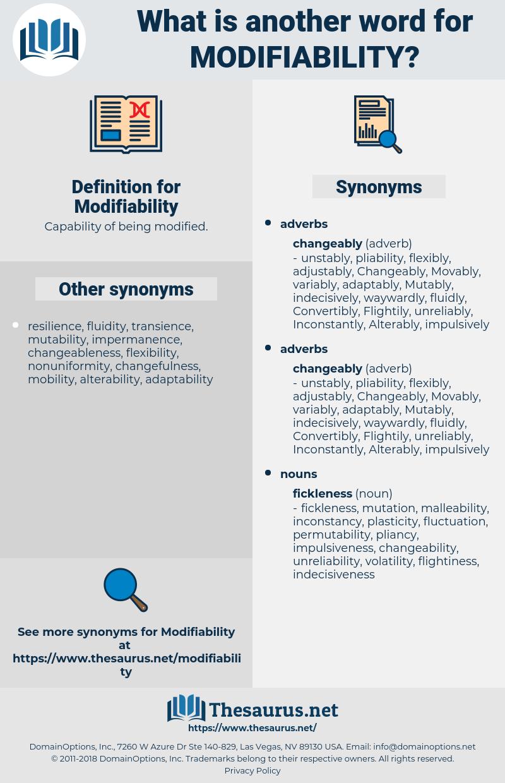 Modifiability, synonym Modifiability, another word for Modifiability, words like Modifiability, thesaurus Modifiability