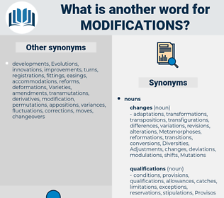 modifications, synonym modifications, another word for modifications, words like modifications, thesaurus modifications