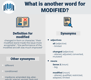 modified, synonym modified, another word for modified, words like modified, thesaurus modified