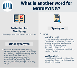 Modifying, synonym Modifying, another word for Modifying, words like Modifying, thesaurus Modifying