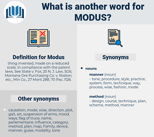 Modus, synonym Modus, another word for Modus, words like Modus, thesaurus Modus