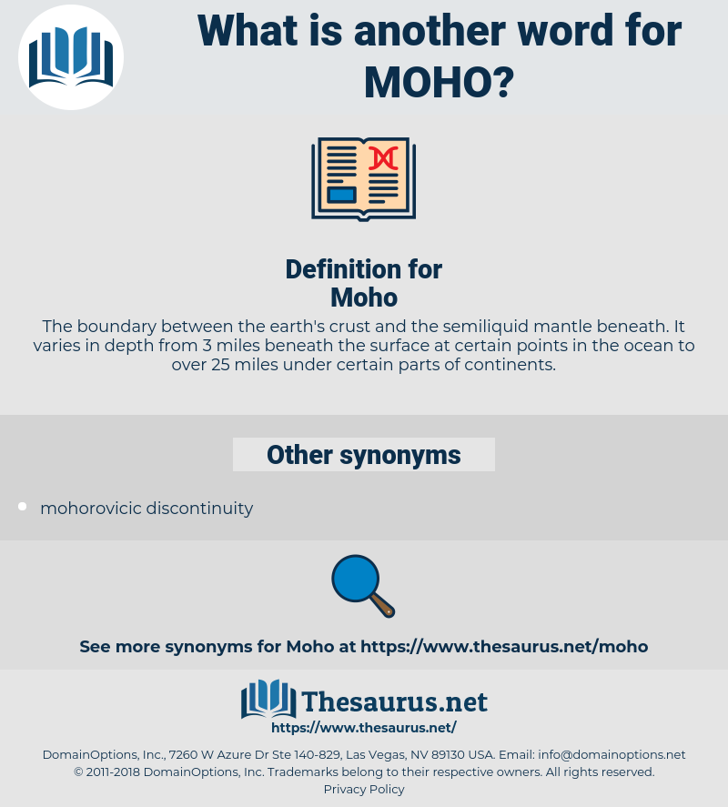 Moho, synonym Moho, another word for Moho, words like Moho, thesaurus Moho