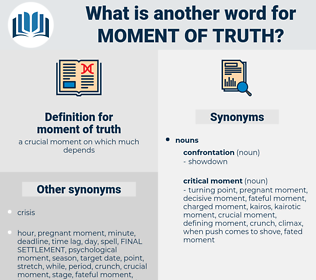moment of truth, synonym moment of truth, another word for moment of truth, words like moment of truth, thesaurus moment of truth