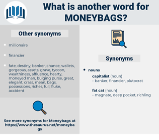 moneybags, synonym moneybags, another word for moneybags, words like moneybags, thesaurus moneybags