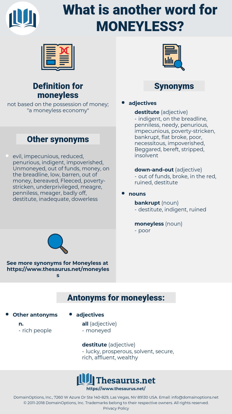 moneyless, synonym moneyless, another word for moneyless, words like moneyless, thesaurus moneyless