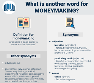 moneymaking, synonym moneymaking, another word for moneymaking, words like moneymaking, thesaurus moneymaking