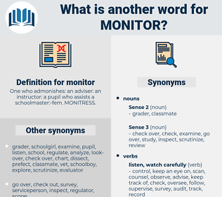 monitor, synonym monitor, another word for monitor, words like monitor, thesaurus monitor