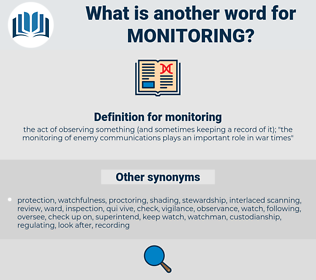 monitoring, synonym monitoring, another word for monitoring, words like monitoring, thesaurus monitoring
