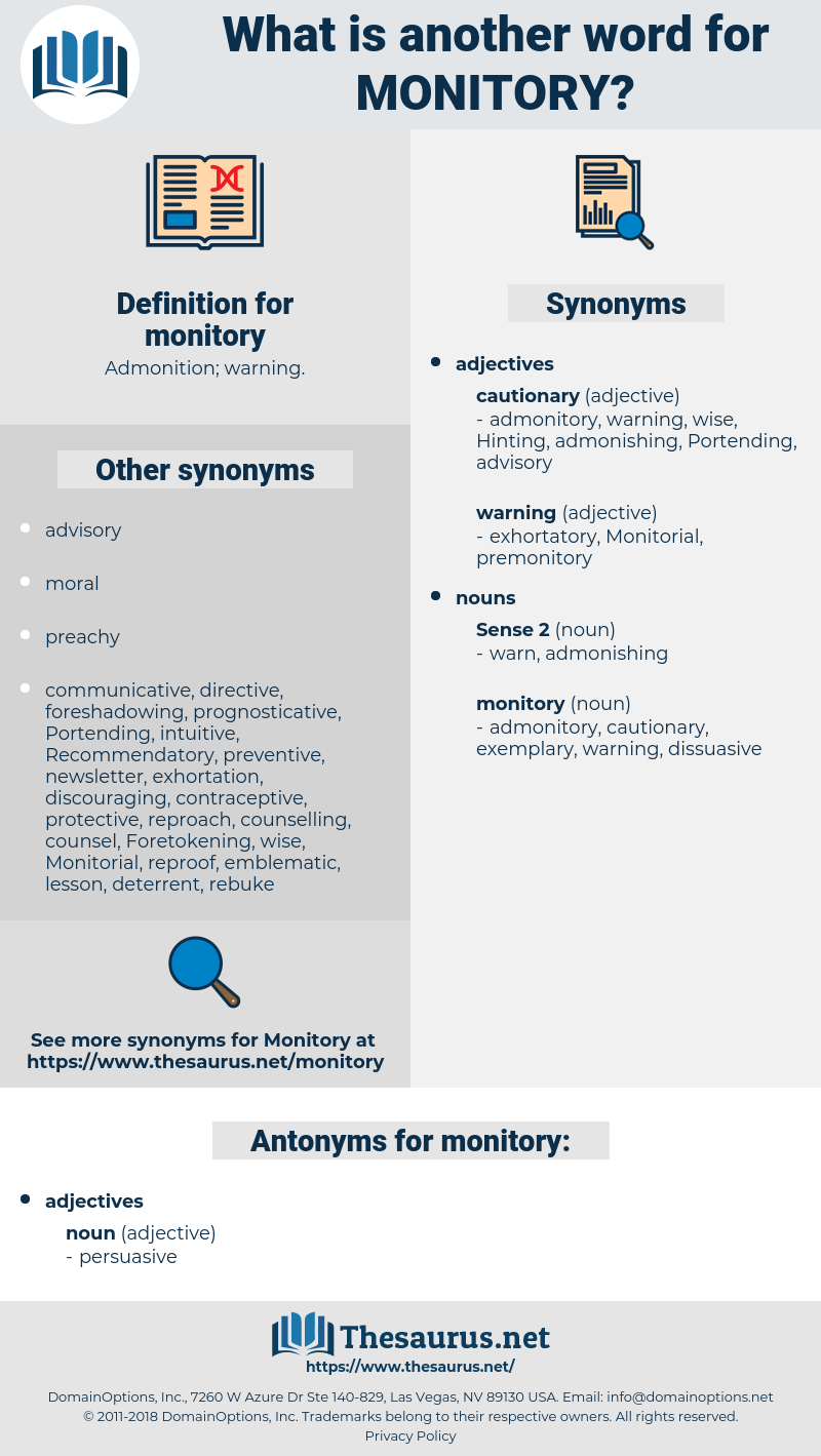 monitory, synonym monitory, another word for monitory, words like monitory, thesaurus monitory