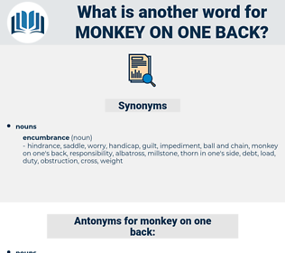 monkey on one back, synonym monkey on one back, another word for monkey on one back, words like monkey on one back, thesaurus monkey on one back