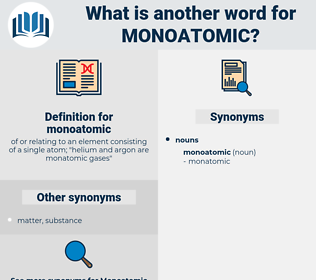 monoatomic, synonym monoatomic, another word for monoatomic, words like monoatomic, thesaurus monoatomic