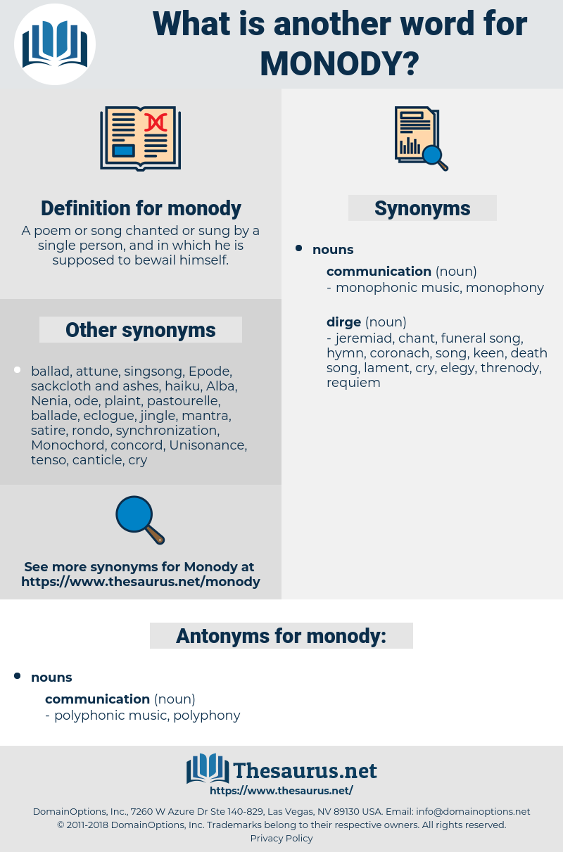 monody, synonym monody, another word for monody, words like monody, thesaurus monody