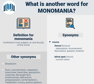 monomania, synonym monomania, another word for monomania, words like monomania, thesaurus monomania