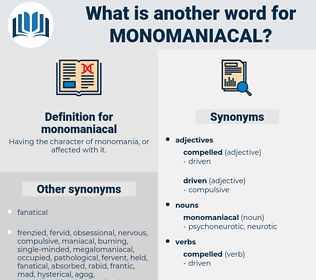 monomaniacal, synonym monomaniacal, another word for monomaniacal, words like monomaniacal, thesaurus monomaniacal