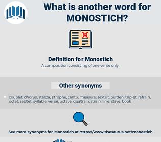 Monostich, synonym Monostich, another word for Monostich, words like Monostich, thesaurus Monostich