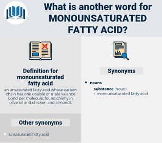 monounsaturated fatty acid, synonym monounsaturated fatty acid, another word for monounsaturated fatty acid, words like monounsaturated fatty acid, thesaurus monounsaturated fatty acid