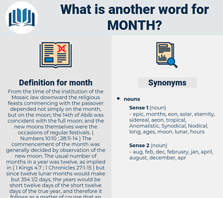 month, synonym month, another word for month, words like month, thesaurus month