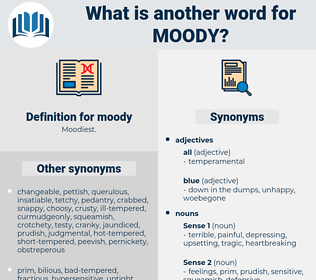 moody, synonym moody, another word for moody, words like moody, thesaurus moody