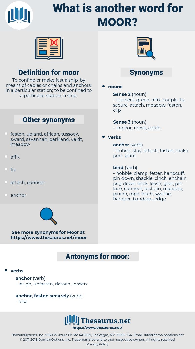 moor, synonym moor, another word for moor, words like moor, thesaurus moor