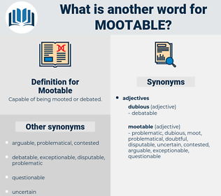 Mootable, synonym Mootable, another word for Mootable, words like Mootable, thesaurus Mootable