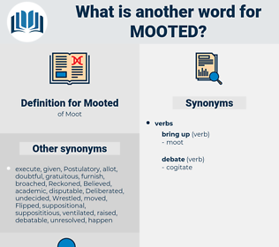 Mooted, synonym Mooted, another word for Mooted, words like Mooted, thesaurus Mooted