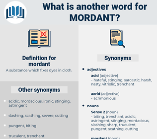 mordant, synonym mordant, another word for mordant, words like mordant, thesaurus mordant