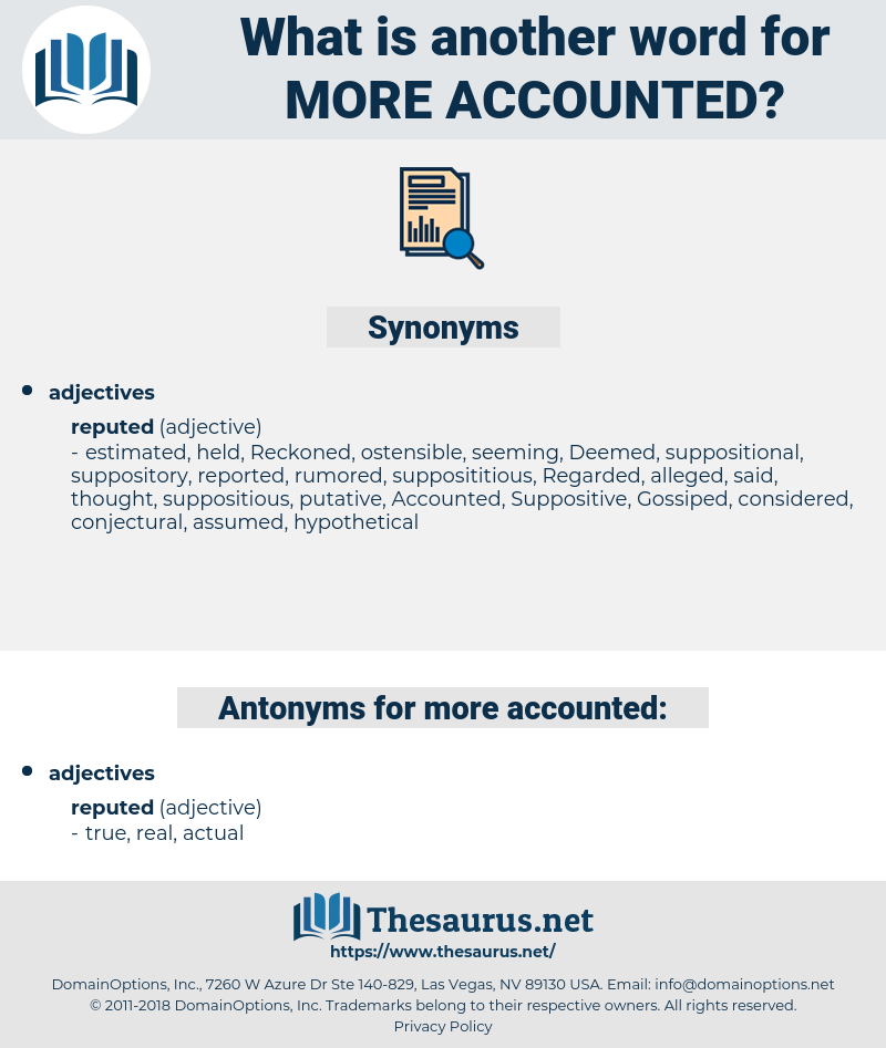 more accounted, synonym more accounted, another word for more accounted, words like more accounted, thesaurus more accounted