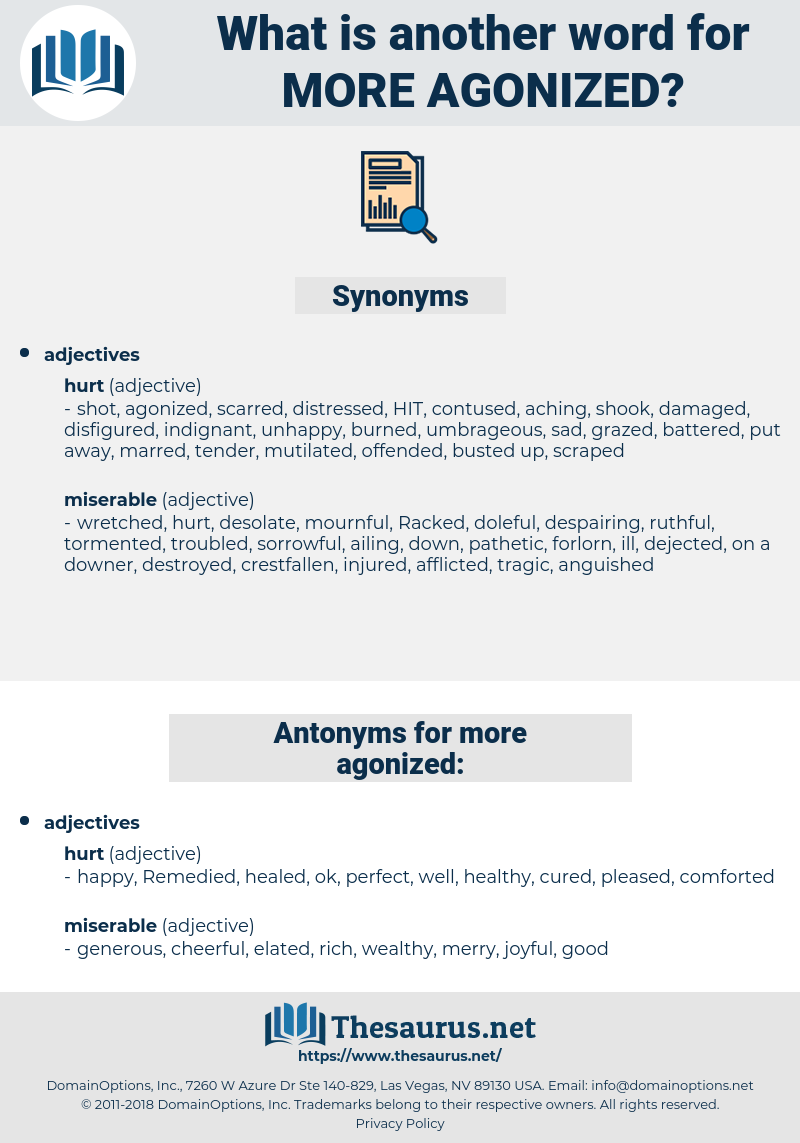 more agonized, synonym more agonized, another word for more agonized, words like more agonized, thesaurus more agonized