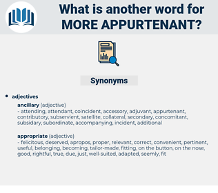 more appurtenant, synonym more appurtenant, another word for more appurtenant, words like more appurtenant, thesaurus more appurtenant