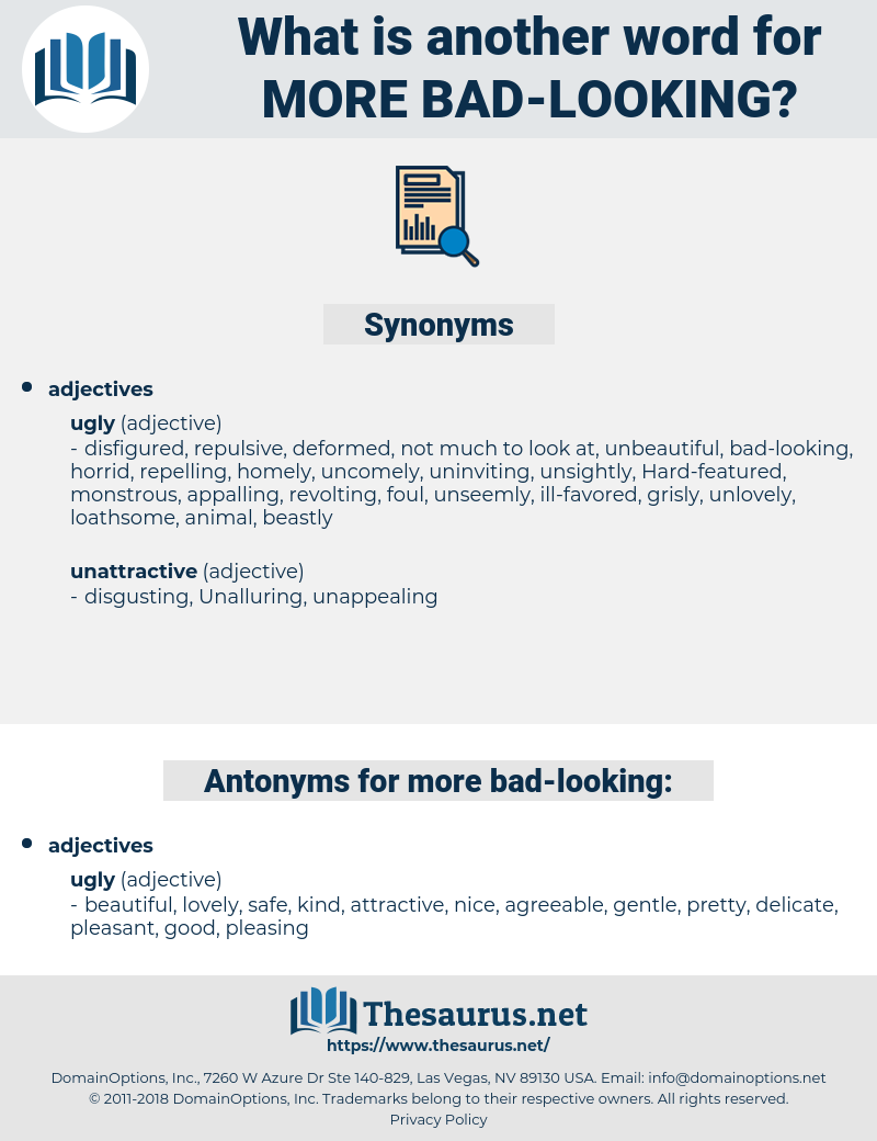 Synonyms For More Bad Looking Thesaurus Net Synonyms for ugly in free thesaurus. thesaurus net