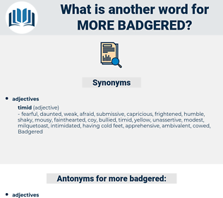 more badgered, synonym more badgered, another word for more badgered, words like more badgered, thesaurus more badgered